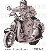 Vector Clip Art of Retro Sketched or Engraved Messenger on a Scooter by Patrimonio