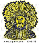 Vector Clip Art of Retro Sketched or Engraved Native American Indian Chief by Patrimonio