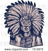 Vector Clip Art of Retro Sketched or Engraved Native American Indian Chief Wearing a Feather Headdress by Patrimonio