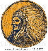 Vector Clip Art of Retro Sketched or Engraved Native American Indian Chief Wearing a Feather Headdress in Navy Blue and Orange by Patrimonio