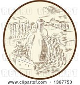 Vector Clip Art of Retro Sketched or Engraved Olive Jar, Grapes and Cheese in a Tuscan Landscape Within an Oval by Patrimonio