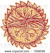 Vector Clip Art of Retro Sketched or Engraved Plant in a Field with Roots in a Flower Head or Sun by Patrimonio