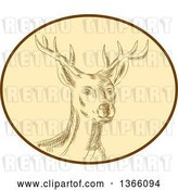 Vector Clip Art of Retro Sketched or Engraved Red Stag Deer Buck in a Brown and Tan Oval by Patrimonio