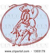 Vector Clip Art of Retro Sketched or Engraved Rodeo Cowboy Swinging a Lasso on a Bull in an Oval by Patrimonio