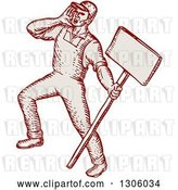 Vector Clip Art of Retro Sketched or Engraved Shouting Union Worker Holding a Sign by Patrimonio