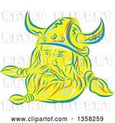 Vector Clip Art of Retro Sketched or Engraved Viking Norseman with a Long Beard and Horned Helmet by Patrimonio