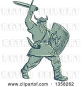 Vector Clip Art of Retro Sketched or Engraved Viking Warrior Holding a Shield and Wielding a Sword by Patrimonio