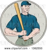 Vector Clip Art of Retro Sketched or Engraved White Male Baseball Player Holding a Bat in a Circle by Patrimonio