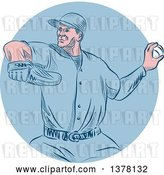 Vector Clip Art of Retro Sketched or Engraved White Male Baseball Player Pitching in a Blue Circle by Patrimonio