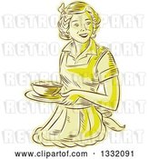 Vector Clip Art of Retro Sketched or Engraved Yellow Housewife or Waitress Wearing an Apron and Serving a Bowl of Food by Patrimonio