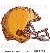 Vector Clip Art of Retro Sketched Orange Football Helmet by Patrimonio