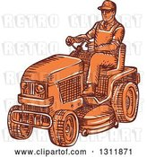 Vector Clip Art of Retro Sketched Orange Guy Driving a Ride on Mower by Patrimonio