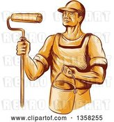Vector Clip Art of Retro Sketched Orange Male House Painter Holding a Roller Brush and Bucket by Patrimonio