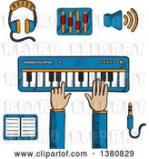 Vector Clip Art of Retro Sketched Person Playing an Electronic Keyboard, Earphones and Volume Sliders, Megaphone, Tablet or MP3 Player and a Sound Jack or Plug by Vector Tradition SM