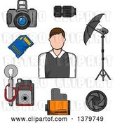 Vector Clip Art of Retro Sketched Photographer and Accessories by Vector Tradition SM