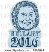 Vector Clip Art of Retro Sketched Portrait of Hillary Clinton over Text by Patrimonio