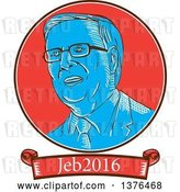 Vector Clip Art of Retro Sketched Portrait of Jeb Bush with Text by Patrimonio
