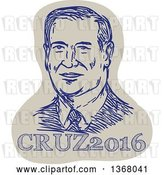 Vector Clip Art of Retro Sketched Portrait of Ted Cruz over Text by Patrimonio