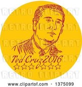 Vector Clip Art of Retro Sketched Portrait of Ted Cruz, Republican Residential Candidate, in a Circle over Text by Patrimonio