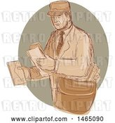 Vector Clip Art of Retro Sketched Post Guy Delivering Mail by Patrimonio