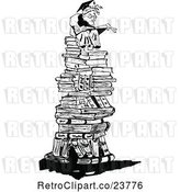 Vector Clip Art of Retro Sketched Professor on a Pile of Books by Prawny Vintage