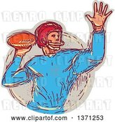 Vector Clip Art of Retro Sketched Quarterback Football Player Throwing by Patrimonio