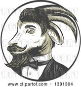 Vector Clip Art of Retro Sketched Ram Goat in a Tuxedo, in a Circle by Patrimonio