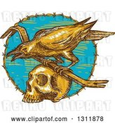 Vector Clip Art of Retro Sketched Raven with a Crow Bar on Top of a Skull in a Barbed Wire Circle by Patrimonio