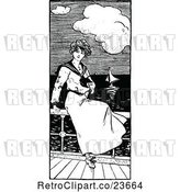 Vector Clip Art of Retro Sketched Sailor Lady Watching Boats by Prawny Vintage