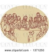 Vector Clip Art of Retro Sketched Scene of the Last Supper with Jesus and the Apostles in an Oval by Patrimonio