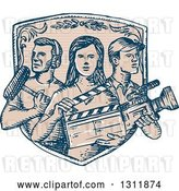 Vector Clip Art of Retro Sketched Shield with Film Crew Workers by Patrimonio