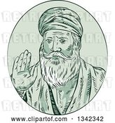 Vector Clip Art of Retro Sketched Sikh Guru Nanak Ji Priest Waving in a Green Oval by Patrimonio