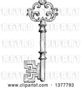 Vector Clip Art of Retro Sketched Skeleton Key by Vector Tradition SM