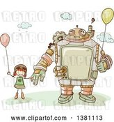 Vector Clip Art of Retro Sketched Steampunk Robot and Stick Girl Holding Balloons by BNP Design Studio