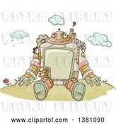 Vector Clip Art of Retro Sketched Steampunk Robot Sitting Outdoors by BNP Design Studio