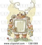 Vector Clip Art of Retro Sketched Steampunk Robot Thinking Outdoors by BNP Design Studio