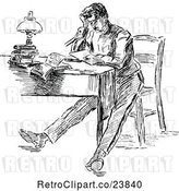 Vector Clip Art of Retro Sketched Stressed Guy Sitting at a Desk by Prawny Vintage