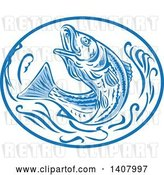 Vector Clip Art of Retro Sketched Striped Bass Rockfish Jumping in a Blue and White Oval by Patrimonio