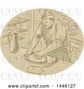 Vector Clip Art of Retro Sketched Styled Medieval Baker Kneading Dough in a Kitchen by Patrimonio