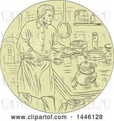 Vector Clip Art of Retro Sketched Styled Medieval Chef Cooking in a Kitchen by Patrimonio