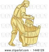 Vector Clip Art of Retro Sketched Styled Medieval Miller or Milne with a Bucket over a Barrel by Patrimonio