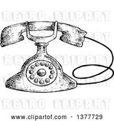 Vector Clip Art of Retro Sketched Telephone by Vector Tradition SM