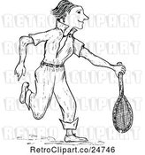 Vector Clip Art of Retro Sketched Tennis Player by Prawny Vintage