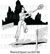 July 19th, 2018: Vector Clip Art of Retro Sketched Tennis Player by Prawny Vintage