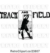 Vector Clip Art of Retro Sketched Track and Field Athlete by Prawny Vintage