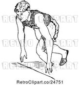 Vector Clip Art of Retro Sketched Track and Field Athlete Runing by Prawny Vintage