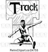 Vector Clip Art of Retro Sketched Track Athlete Leaping a Hurdle by Prawny Vintage