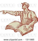 Vector Clip Art of Retro Sketched Union Worker Guy Pointing and Holding a Book by Patrimonio
