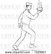 Vector Clip Art of Retro Sketched Waiter Serving Coffee by Patrimonio