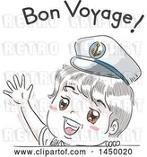 Vector Clip Art of Retro Sketched White Boy Wearing a Sailor Hat and Waving Under Bon Voyage Text by BNP Design Studio
